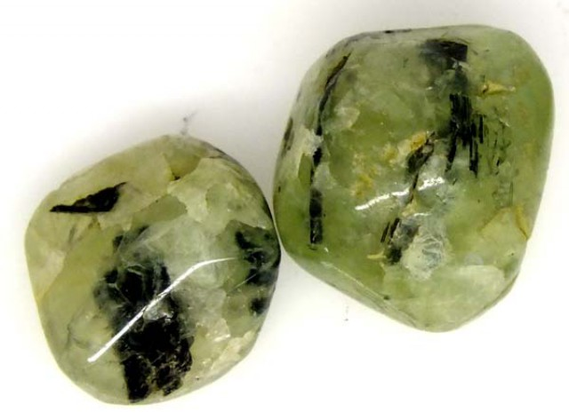 PREHNITE BEAD DRILLED 2 PCS 38.5 CTS   NP-1599