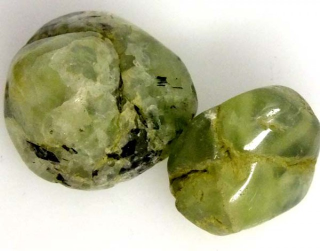 PREHNITE BEAD DRILLED 2 PCS 45.5 CTS   NP-1581