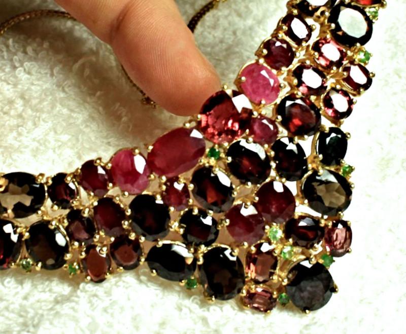 396 0 Tcw  Garnet, Ruby, Tourmaline 925 Silver, 14k White Gold Necklace