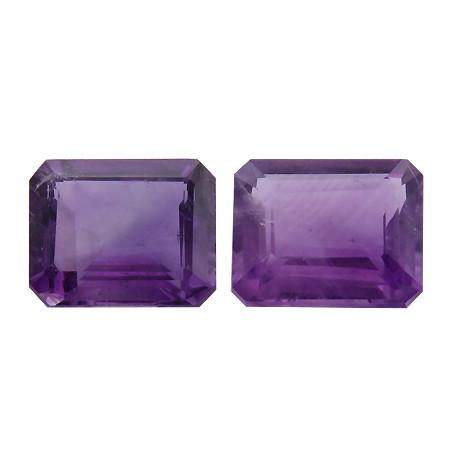5.78 cttw Pair of Emerald Cut Amethysts (Intense Purple)