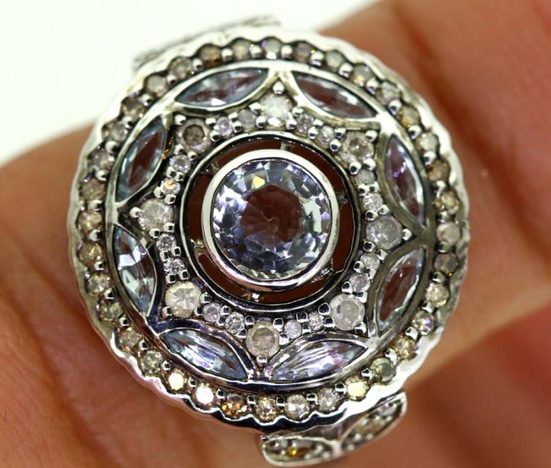 16.35CTS ART DECO DIAMOND  CLUSTER RING SG-2805