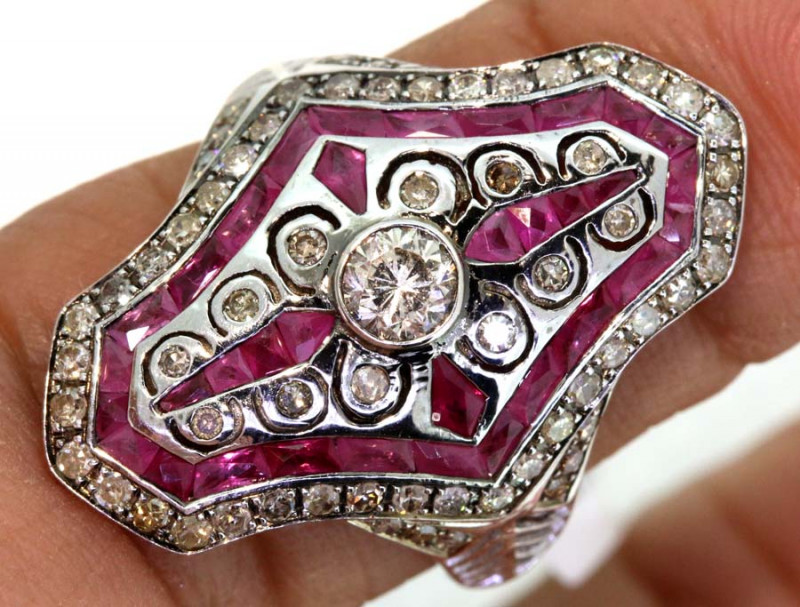 22.30CTS ART DECO DIAMOND RUBY  CLUSTER RING SG-2806