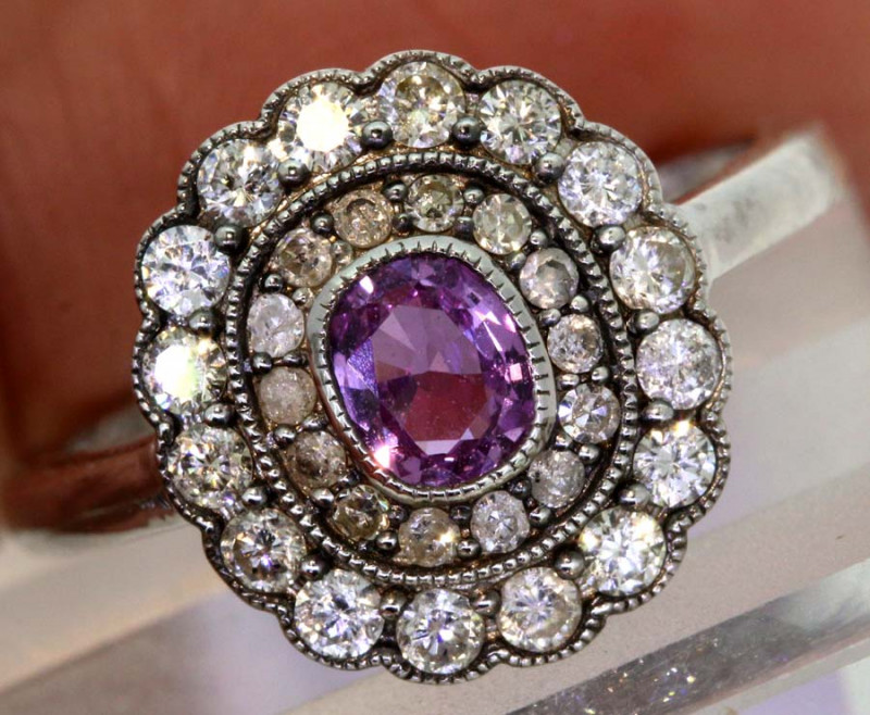12.25CTS ART DECO DIAMOND RUBY  CLUSTER RING SG-2808
