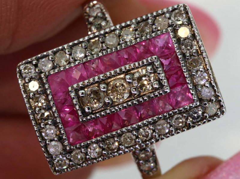 22.75CTS ART DECO DIAMOND RUBY  CLUSTER RING SG-2811