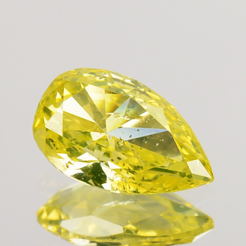 ~UNTREATED~ 0.26 Cts Natural Canary Yellow Diamond Pear Africa