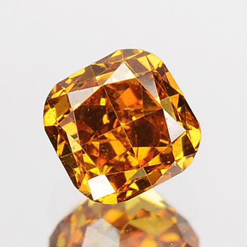 ~UNTREATED~ 0.27 Cts Natural Cognac Orange Diamond Cushion Africa