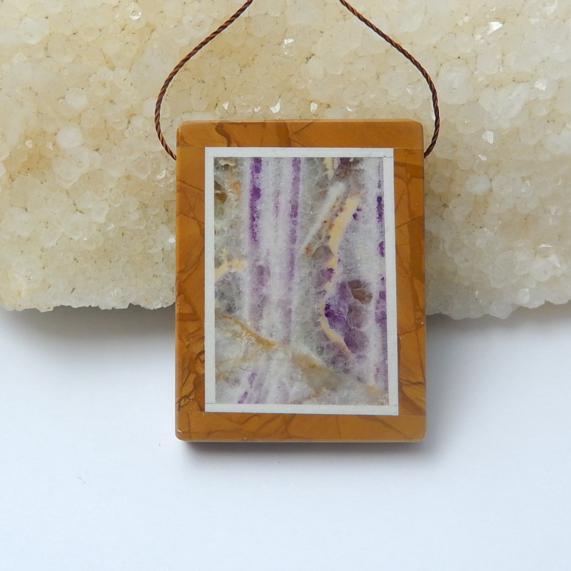 109cts purple lace agate And picasso jasper Intarsia Pendant(A776)