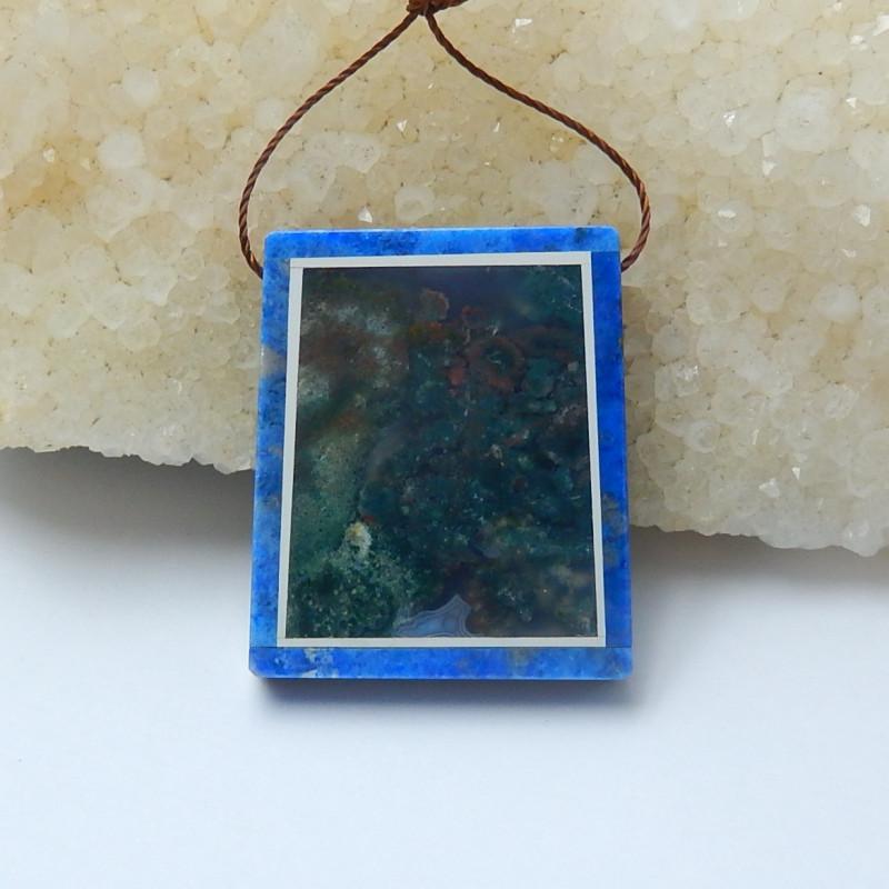 Lapis lazuli moss agate And obsidian Rectangle Intarsia Pendant(A667)