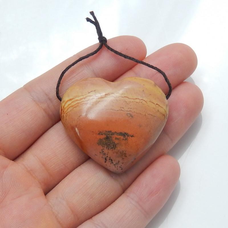 81.5cts lovely natural ocean jasper heart pendant beads semi-gem (A768)