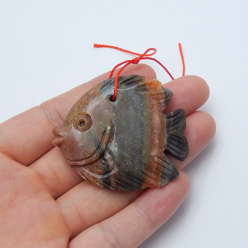 129cts hand carved natural amazonite fish animal pendant(A684)