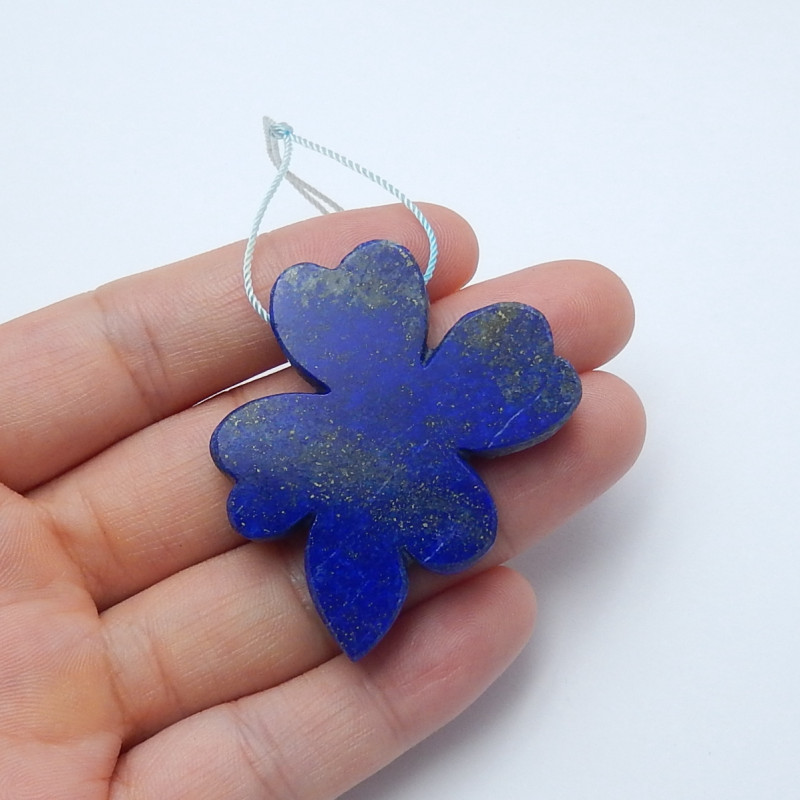 91.3cts New lapis lazuli carved flower pendant beads healing stone  (A697)