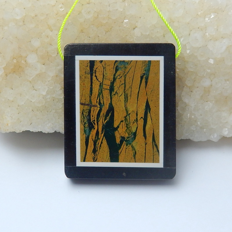 103.5cts natural  black stone and picture jasper intarsia pendant  (A701)