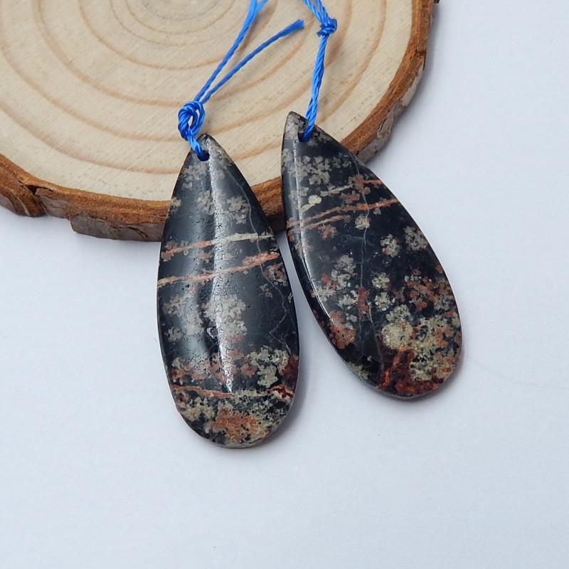 30cts Snow obsidian  earrings ,tear drop earrings ,healing stone (A766)