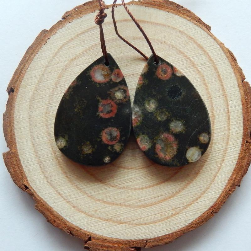 42.5cts Poppy jasper earrings ,tear drop earrings ,healing stone (A722)