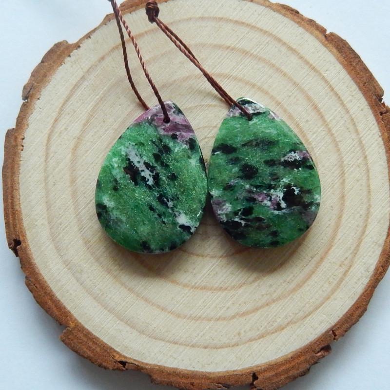 44cts Ruby and zoister earrings ,tear drop earrings ,healing stone (A730)