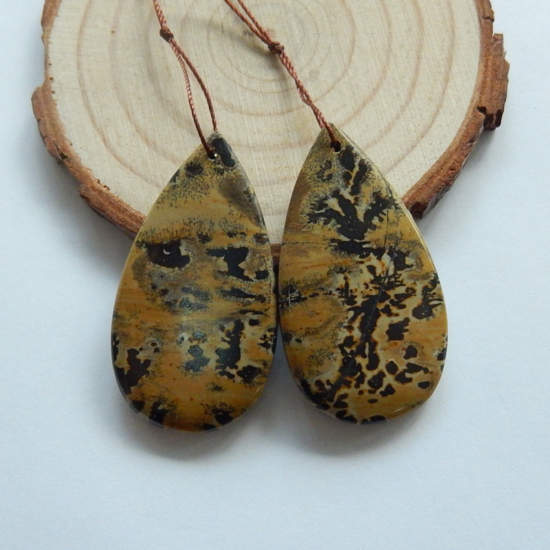 68.5cts Chohua jasper earrings ,tear drop earrings ,healing stone (A734)