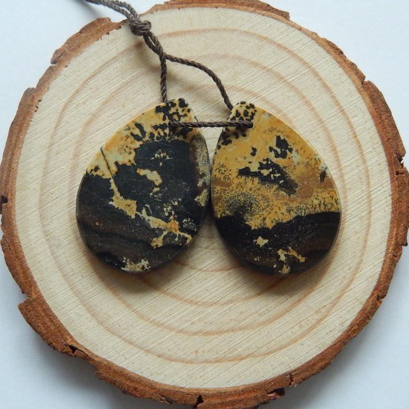 31.5cts Chohua jasper earrings ,tear drop earrings ,healing stone (A736)