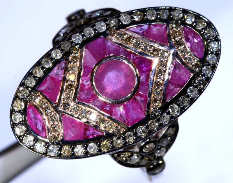 17.35CTS ART DECO DIAMOND RUBY  CLUSTER RING SG-2814