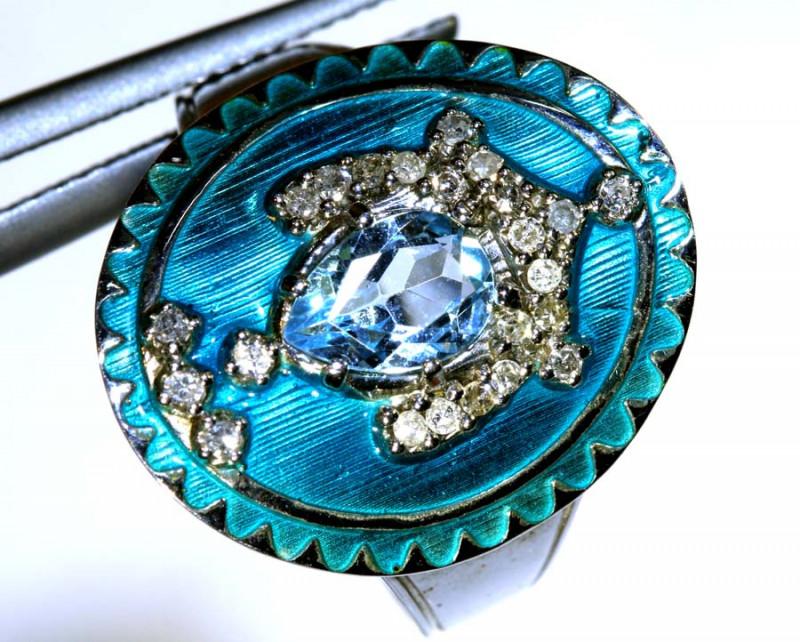 18.50CTS  DIAMOND AQUA LACQUER CLUSTER RING SG-2815