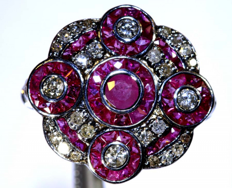 19.95CTS ART DECO DIAMOND RUBY CLUSTER RING SG-2818