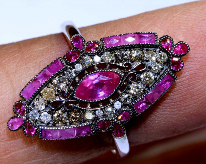 11.55CTS ART DECO DIAMOND RUBY CLUSTER RING SG-2819