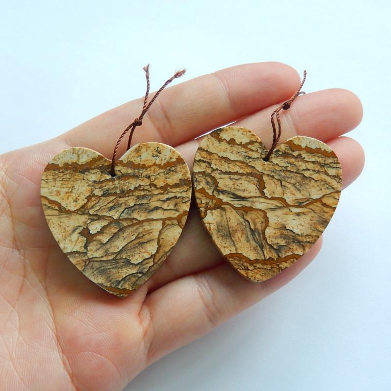 115cts Picture jasper heart earrings beads ,healing stone(A790)