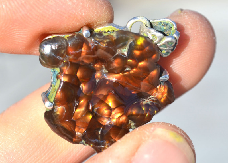 36.35 Carat Fire Agate in Sterling Silver Pendant
