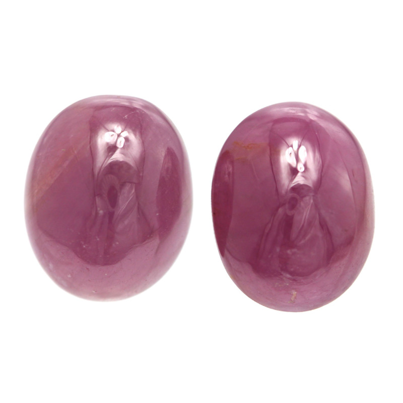 11.18tcw Natural Ruby Matching Oval Cabochons Shape