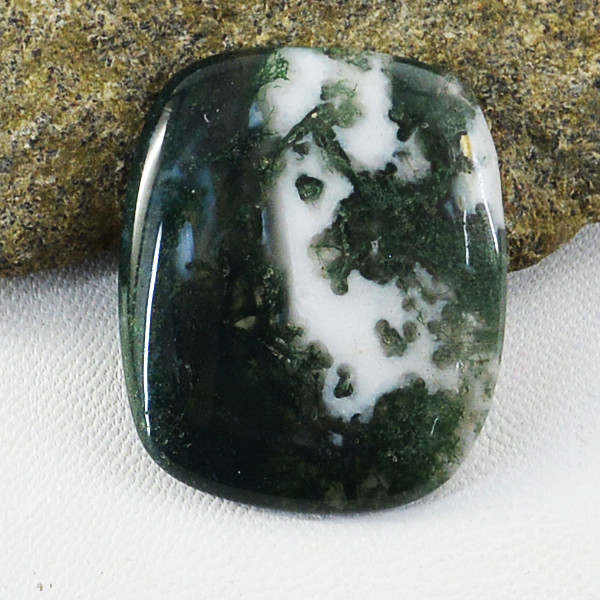 Genuine 35.00 Cts Moss Agate Untreated Cabochon