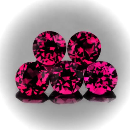 ⭐5 piece parcel of Rhodolite Garnet gems 5.50mm