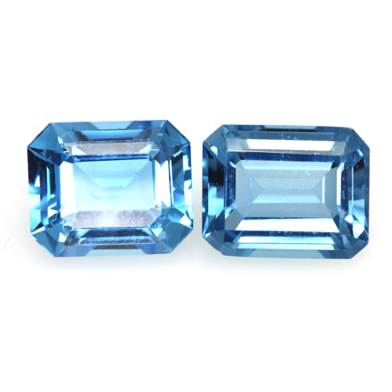 11.16cts Natural Swiss Blue Topaz Matching Emerald Cuts