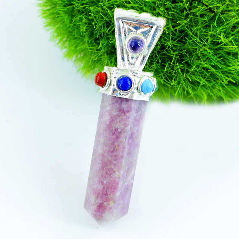 Genuine 8.00 Gms Lepidolite Seven Chakra Healing Point Pendant