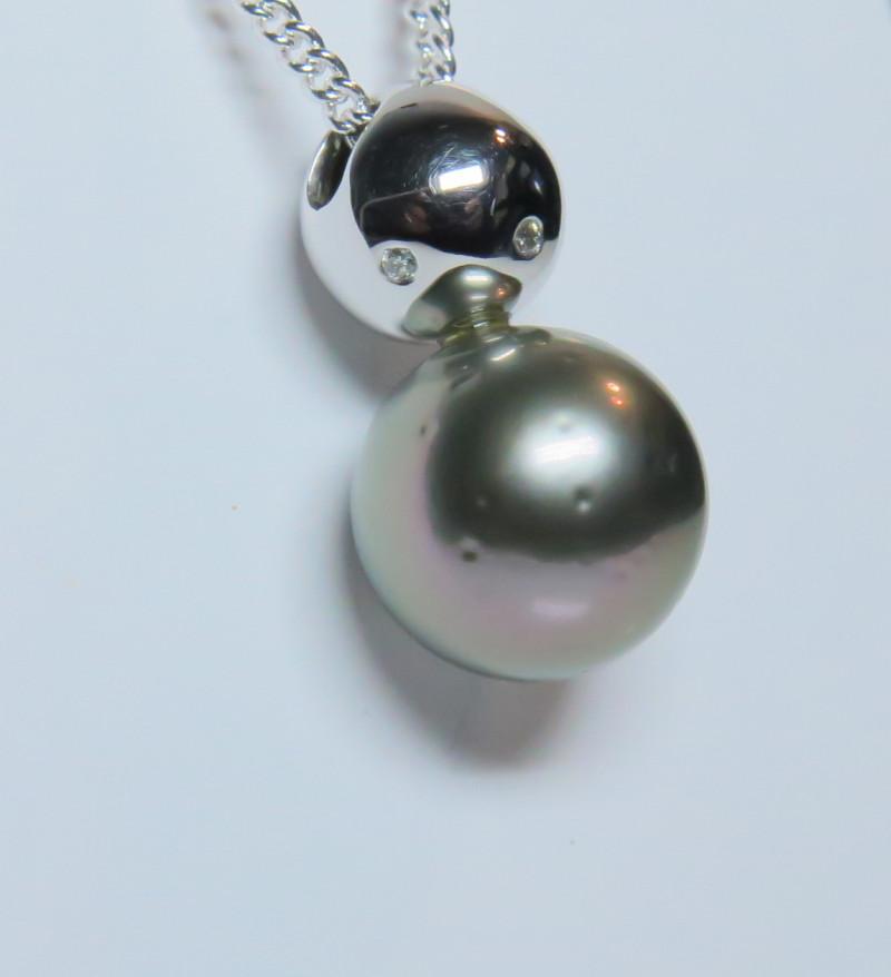 11.50mm 18k South Sea Tahitian Black Pearl White Gold Pendant