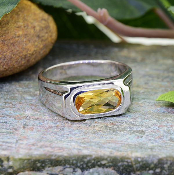 Natural Citrine 925 Sterling Silver Ring  (SSR0465)