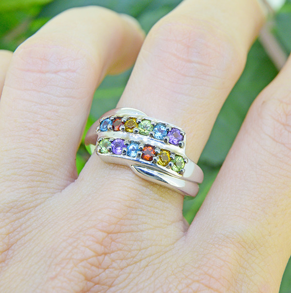 Natural Mixed Gemstone 925 Sterling Silver Ring (SSR0458 )