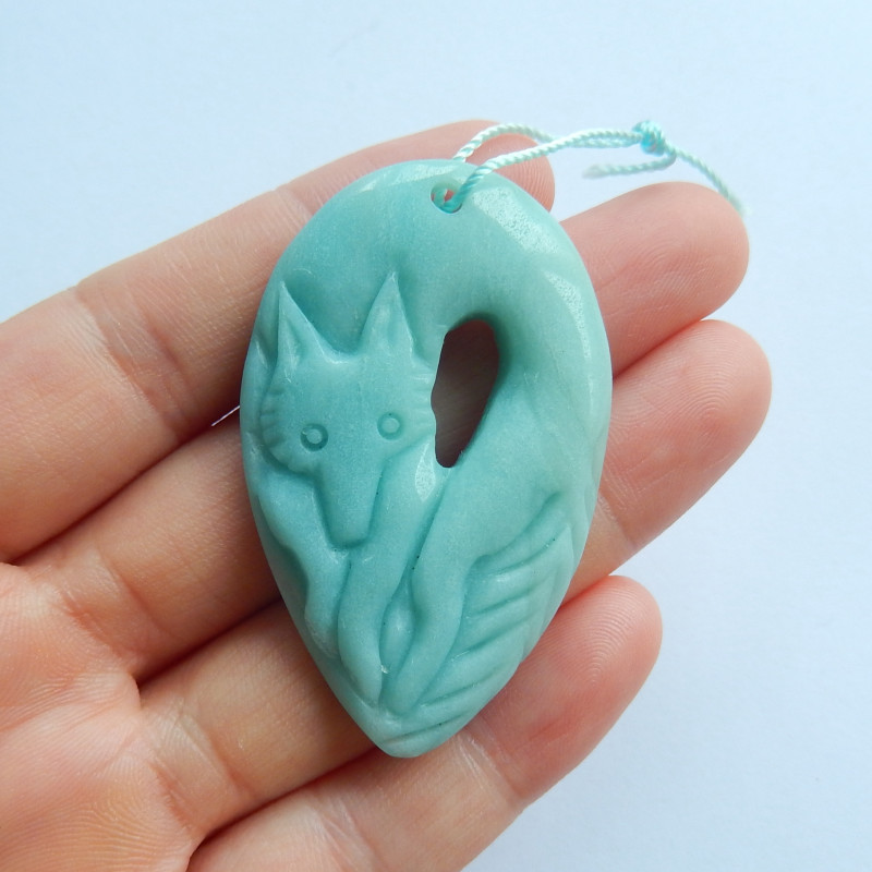 Hand carved wolf pendant natural amazonite pendant birthday present A896