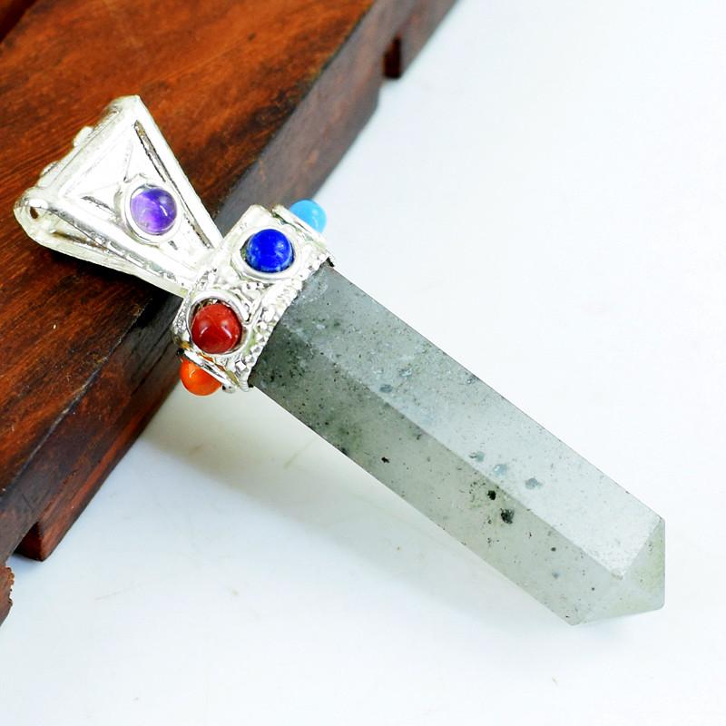 Genuine 8.00 Gms Rutile Quartz Seven Chakra Healing Point Pendant