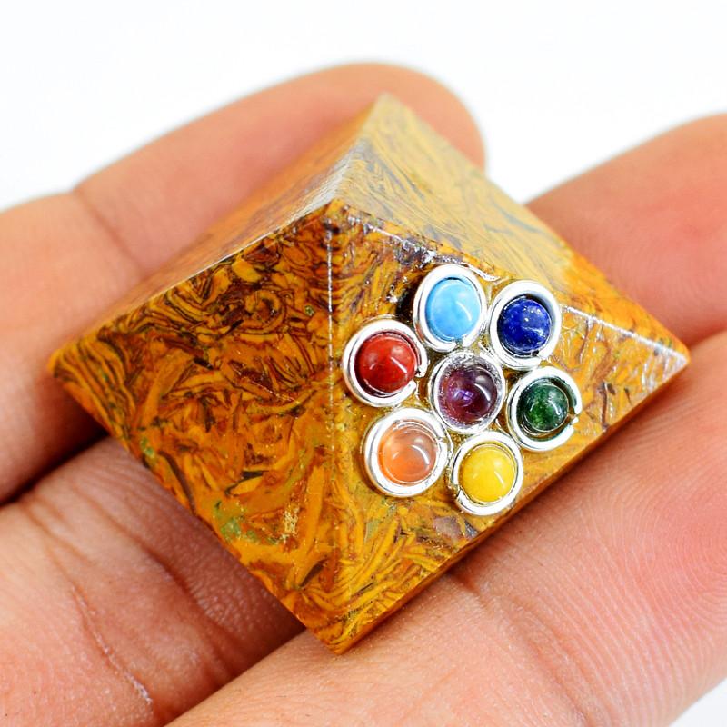 Genuine 76.00 Cts Golden Art Jasper Seven Chakra Healing Pyramid