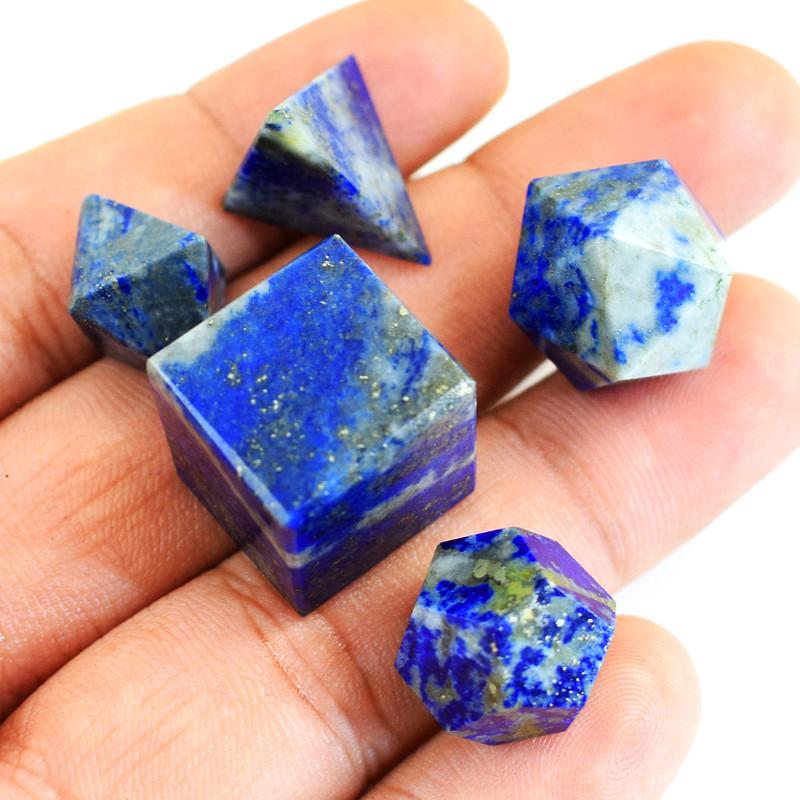 Genuine 146.00 Cts Lapis Lazuli Geometry Set