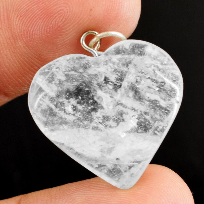 Genuine 25.00 Cts White Quartz Heart Pendant