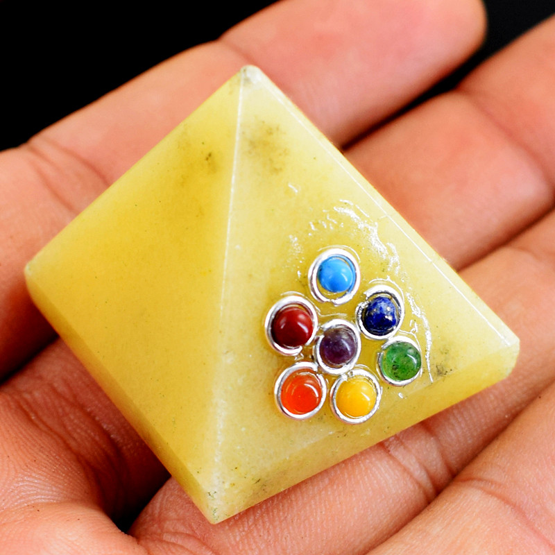 Genuine 205.00 Cts Aventurine Seven Chakra Healing Pyramid