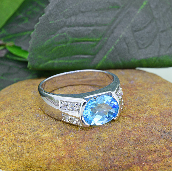 Natural Blue & White Topaz 925 Sterling Silver Ring (SSR0470 )