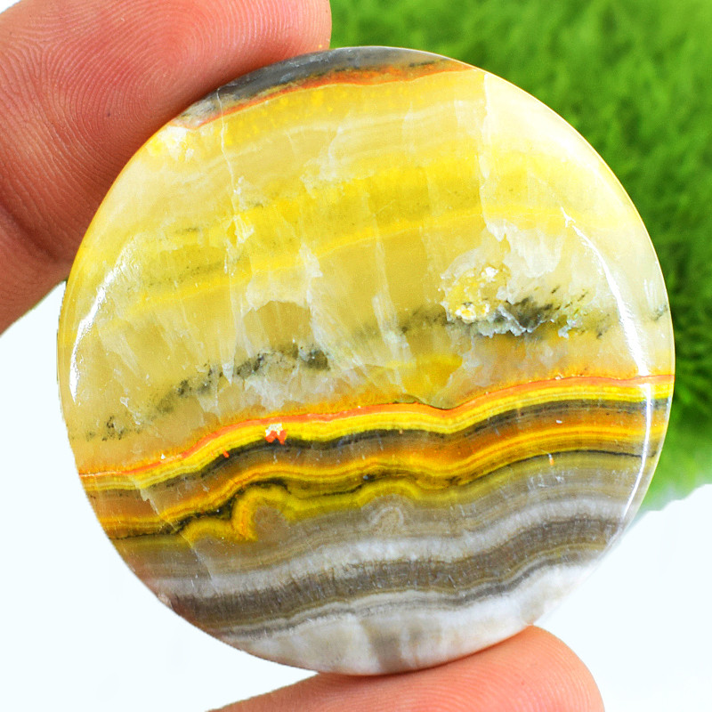 Genuine 96.00 Cts Round Shape Bumble Bee Jasper Cabochon