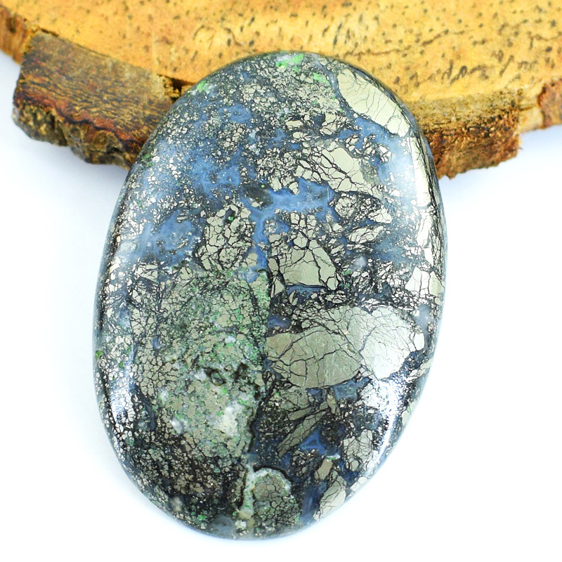 Genuine 64.00 Cts Pyrite Oval Shape Cabochon