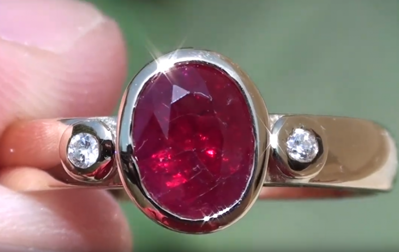 GIA Certified and Sourced Verified Ruby 1.01ct,with Diamonds,18ct Solid Gol