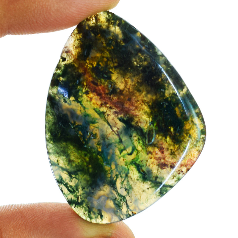 Genuine 66.00 Cts Untreated Moss Agate Cabochon