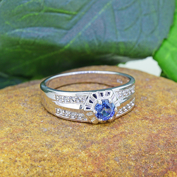 Natural Blue Sapphire & Topaz 925 Sterling Silver Ring (SSR0468 )
