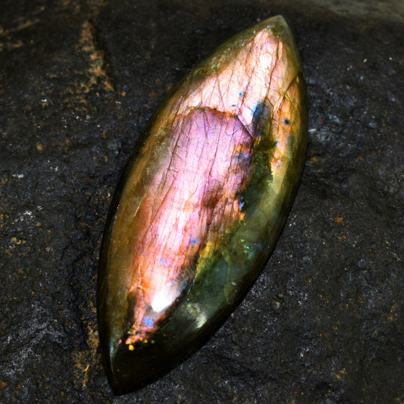 Genuine 94.00 Cts Amazing Flash Labradorite Cabochon