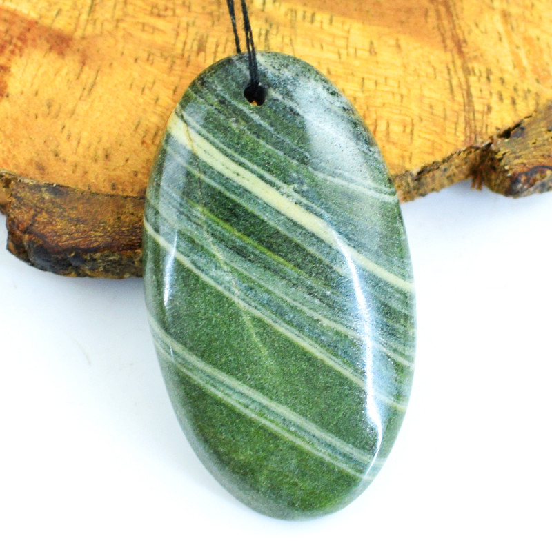 Genuine 57.00 Cts Forest Green Jasper Drilled Cabochon