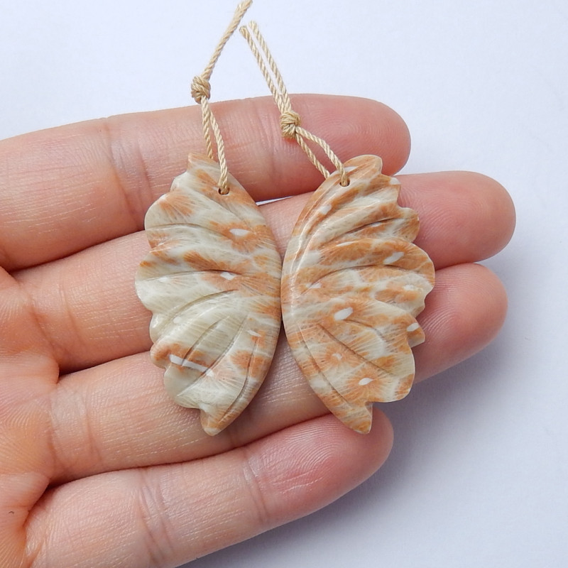 Beautiful carved butterfly ocean jasper earring pairs gemstone A962